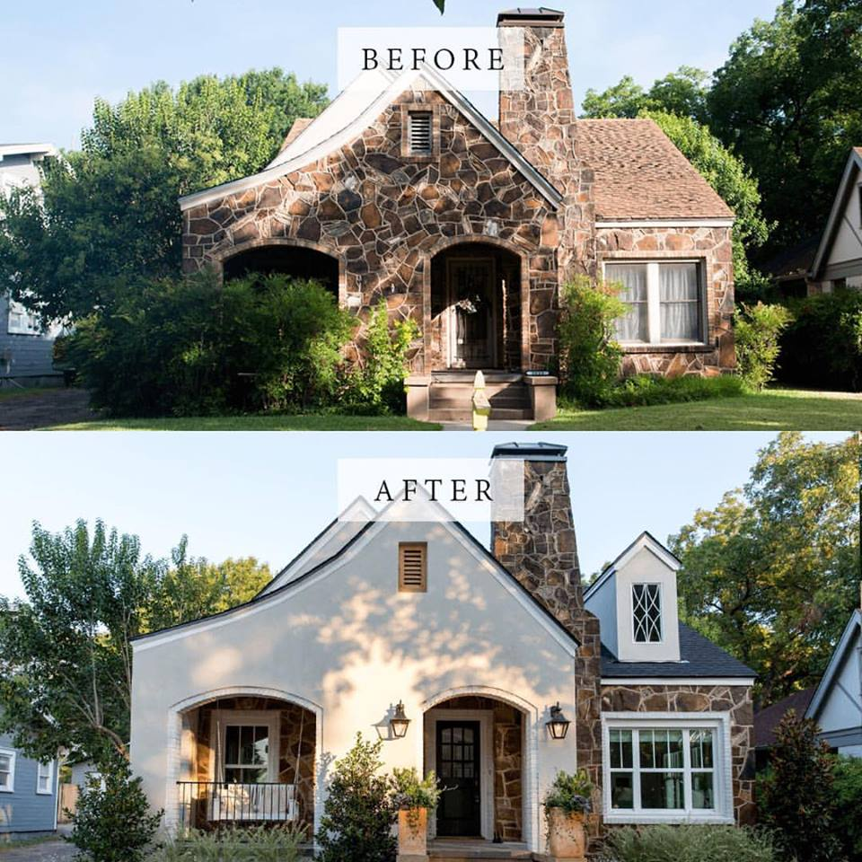 before and after images of a home that got a facade facelift