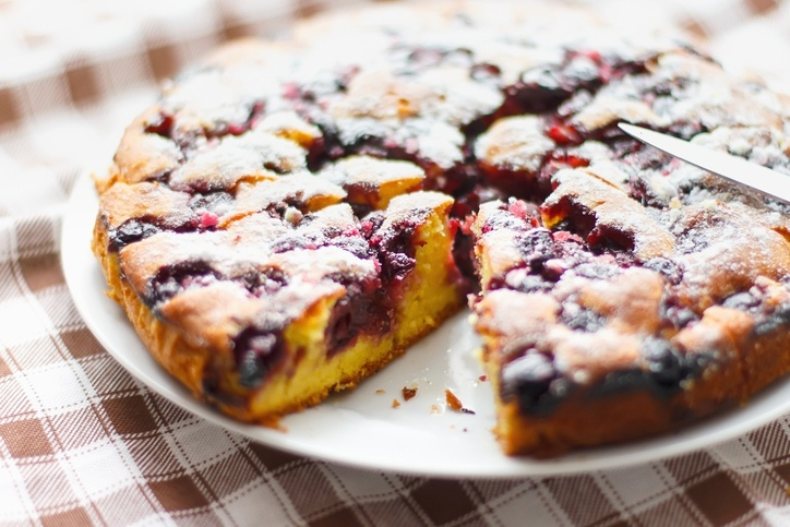 fresh homemade delicious cake with cherries