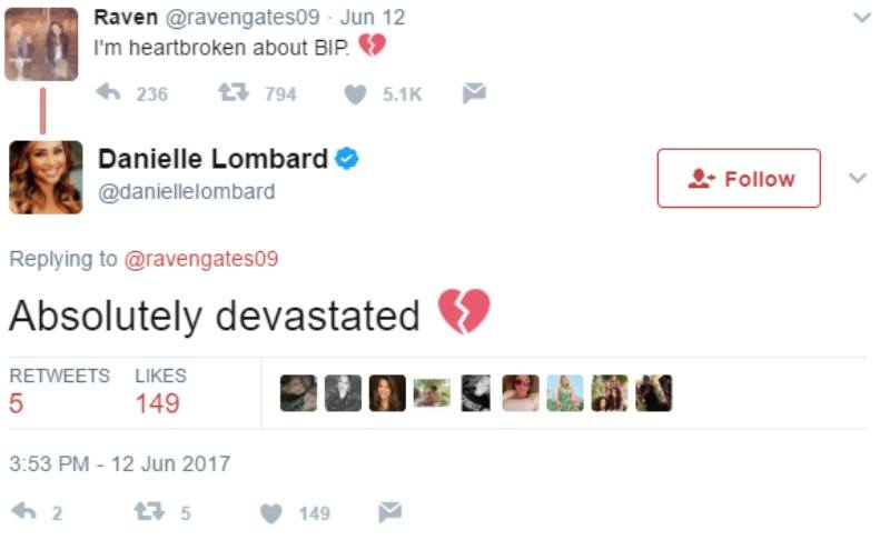 "Danielle Lombard tweets ""Absolutely devastated"""
