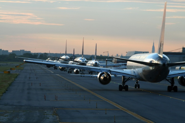 Evening traffic at airport