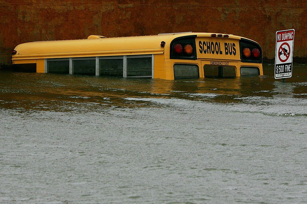 school bus underwater