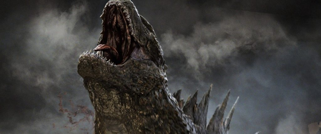Godzilla with his head pointed up, roaring into the sky