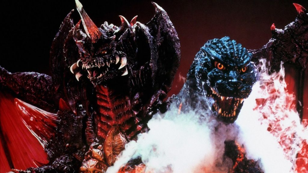 Destroyah lurks behind Godzilla, who's cloaked in white smoke