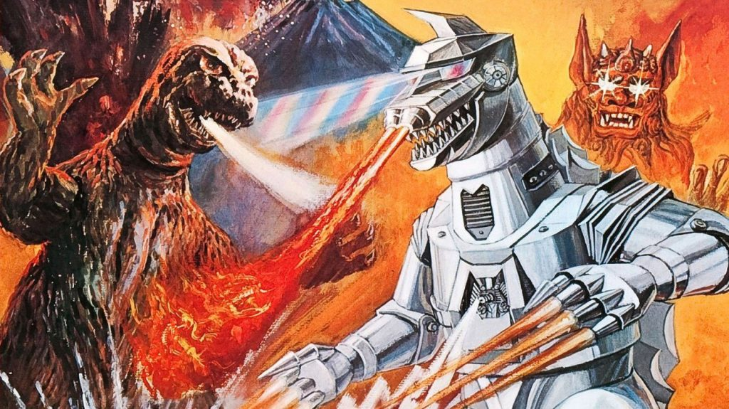 Godzilla and Mechagodzilla do battle, as they both breathe streams of fire at each other, set in front of a mountain in the background