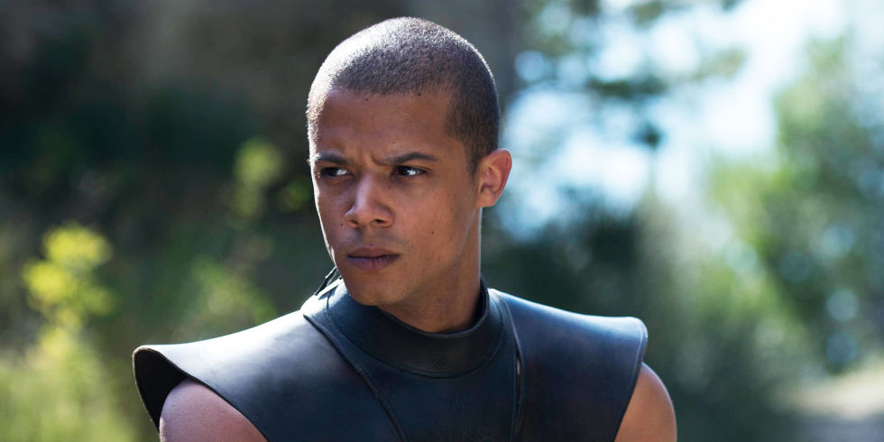Grey Worm, with a furrowed brow looking off to the left of the frame