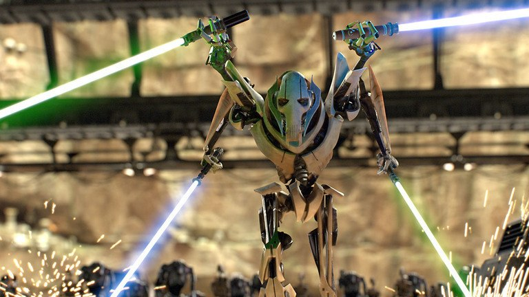 General Grievous, wielding a lightsaber in each of his four arms, walking menacingly forward with each arm extended out