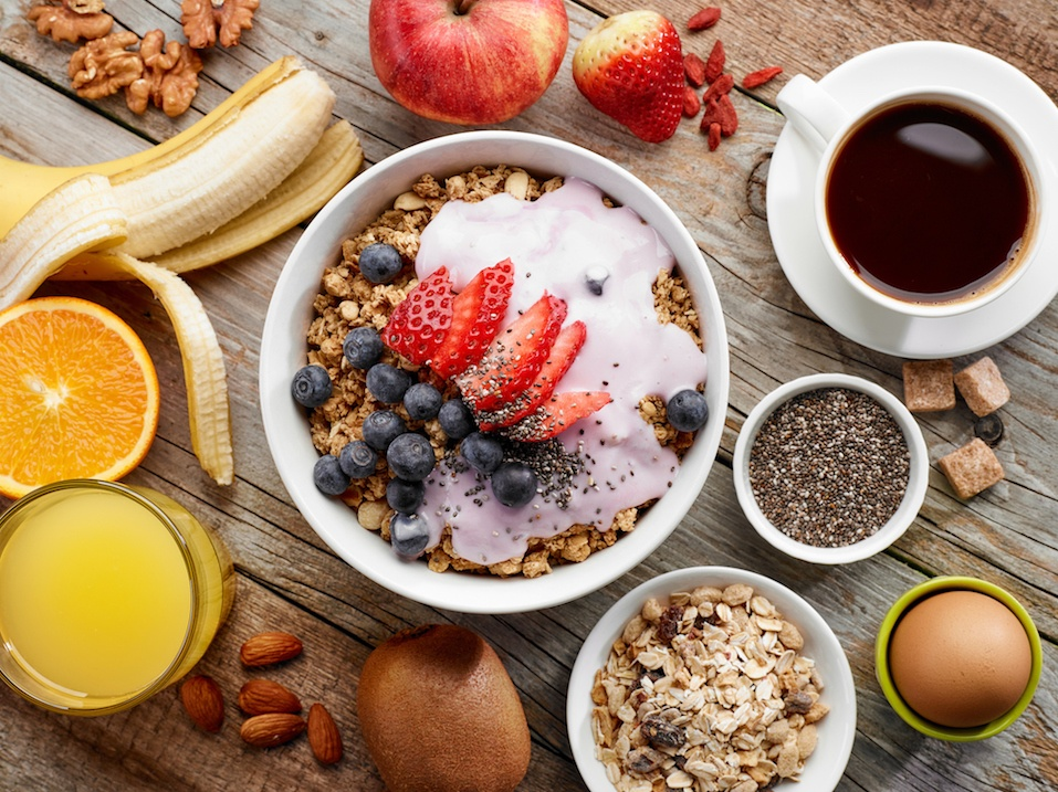 top view of healthy breakfast ingredients