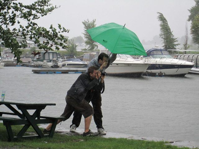 people struggling with umbrella in storm