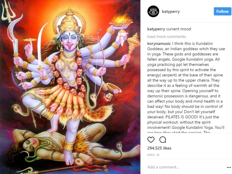 """As Instagram post from Katy Perry depicting an image of a Hindu goddess standing on a woman with the caption """"current mood"""""""