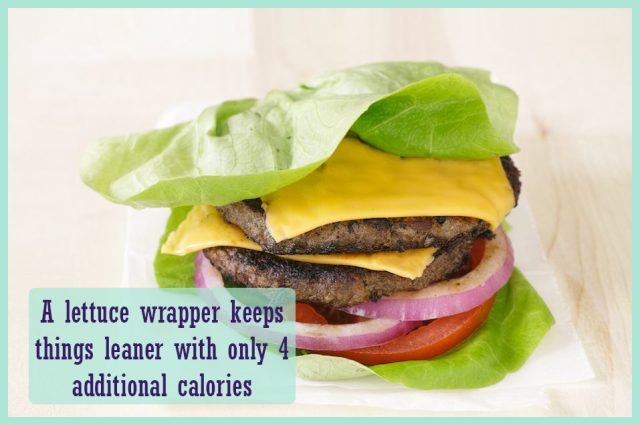 low-carb burger with a lettuce wrap