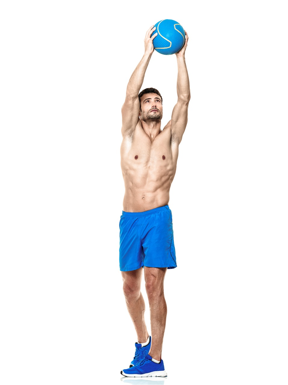 one caucasian man exercising fitness exercises