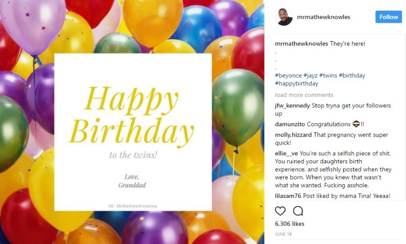 "This is a screen shot of Mathwe Knowles posting a ""Happy Birthday"" card on Instagram."