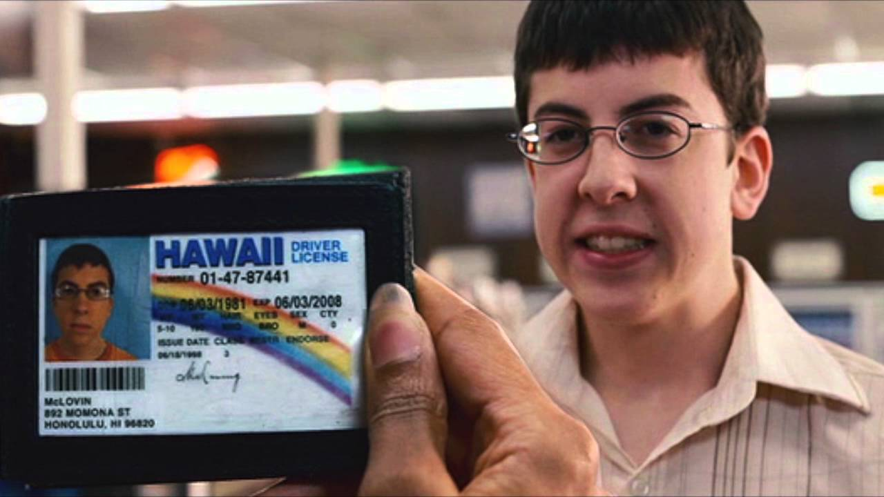 "McLovin avoids a form of discrimination by using an alternative ID in ""Superbad"""