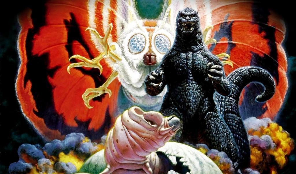 Godzilla facing the camera, with Mothra flying in behind him, in a colorful promo poster