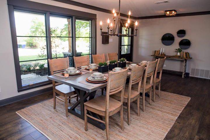 dining room with natural fiber rug