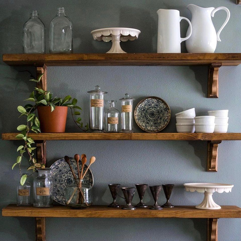 shelves with vintage items