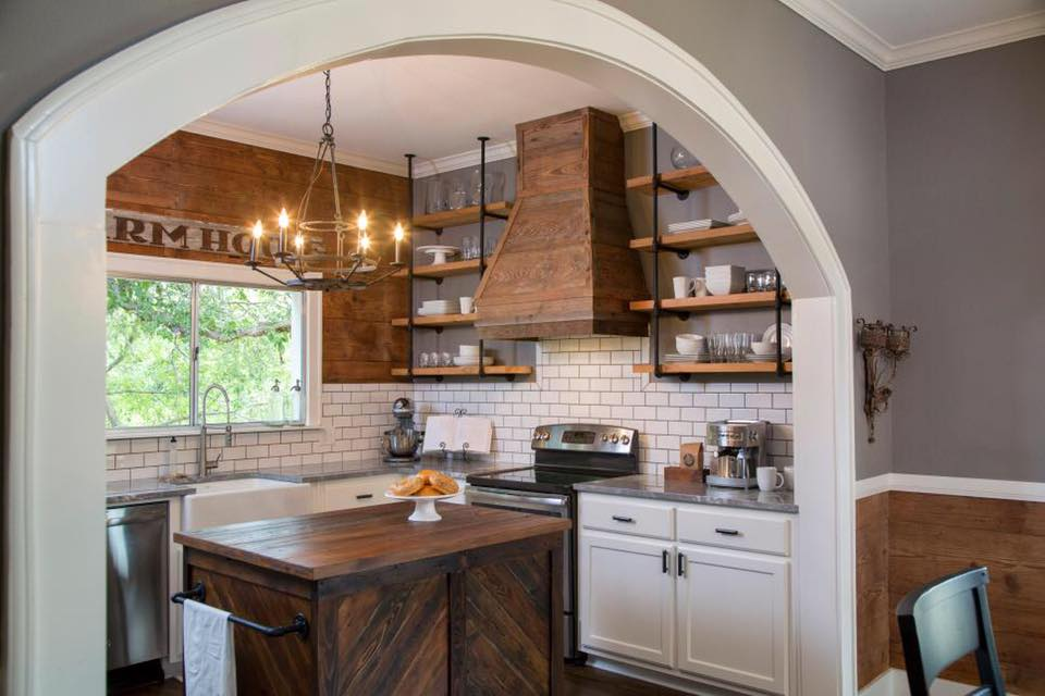 kitchen with shelves