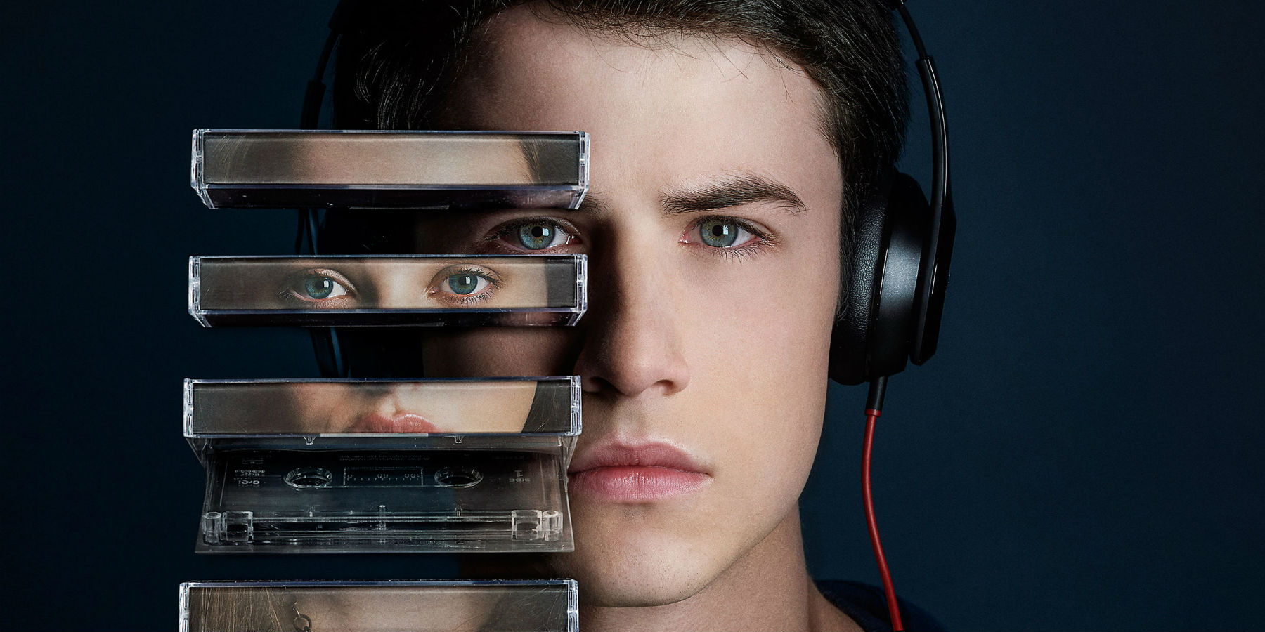 A close-up of Clay's face wearing headphones and listening to tapes in a promotional poster for 13 Reasons Why