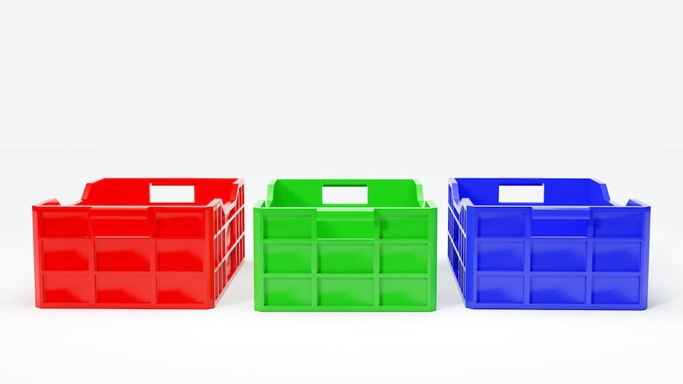 red, green and blue plastic bins