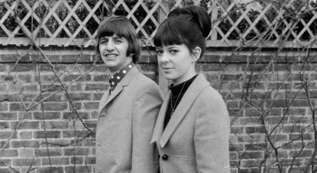 Ringo Starr walks hand-in-hand with his first wife, hairdresser Maureen Cox, in 1965.