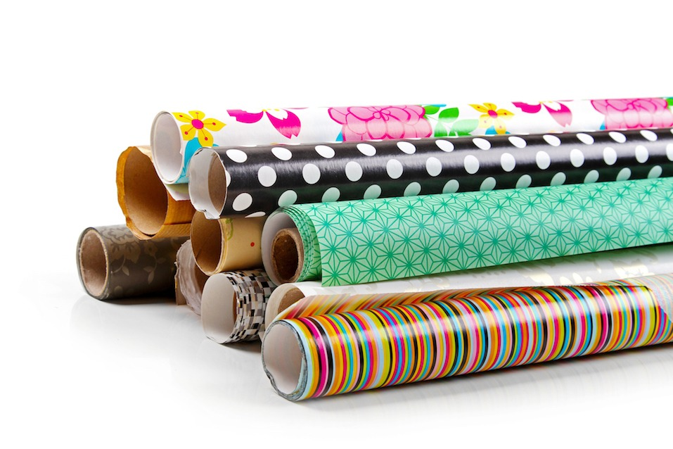rolls of colorful wrapping paper
