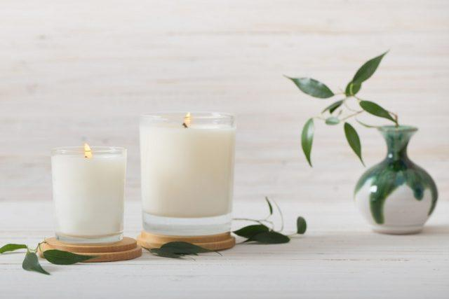 Scented vanilla candles with plants.
