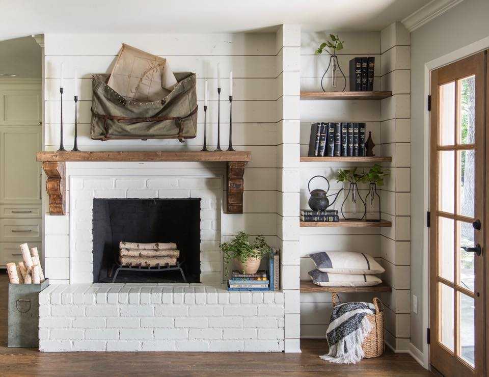 fireplace with shiplap