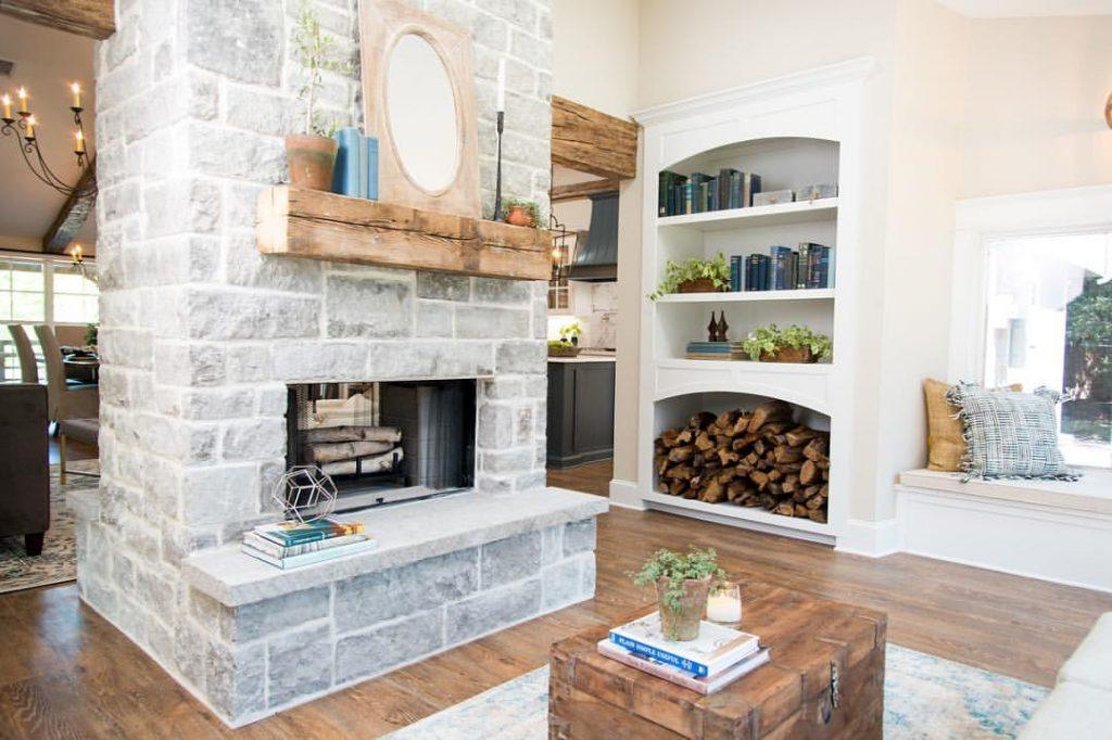 fireplace with few decorations