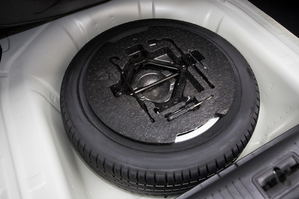 spare tire in the trunk of a modern car