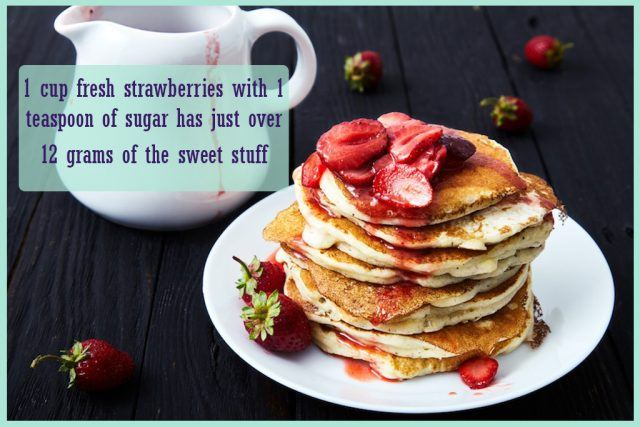 a fresh strawberry topping on pancakes