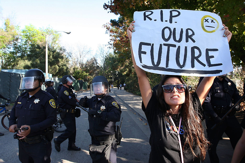 UCLA students challenge campus police as students and supporters protest budget cuts