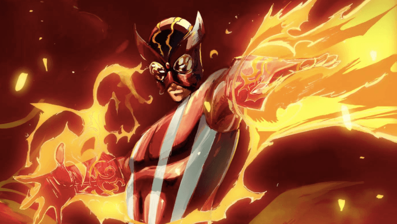 X-Men character Sunfire surrounded by flames