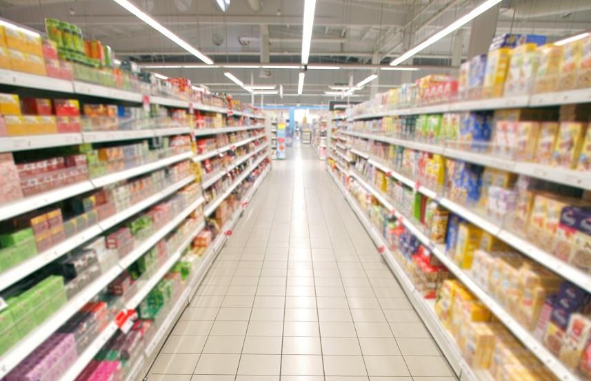 empty supermarket aisle