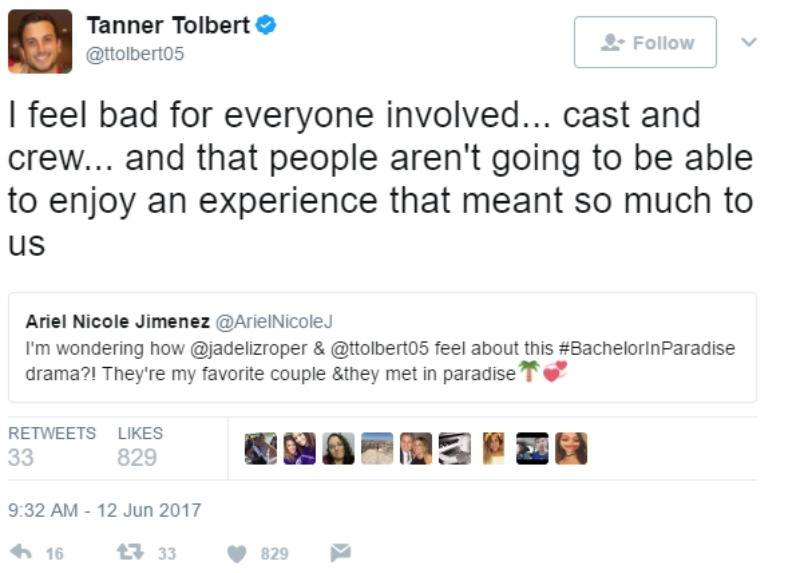 "Tanner Tolbert tweets ""I feel bad for everyone involved... cast and crew... and that people aren't going to be able to enjoy an experience that meant so much to us."""