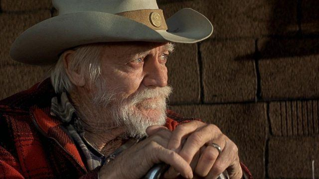 Richard Farnsworth, wearing a cowboy hat and a red flannel, looking off to the right of the frame thoughtfully