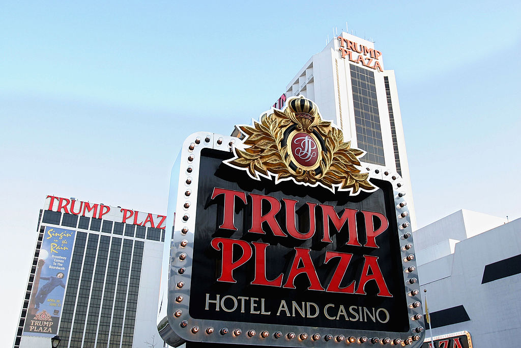 A sign marks the Trump Plaza Hotel and Casino