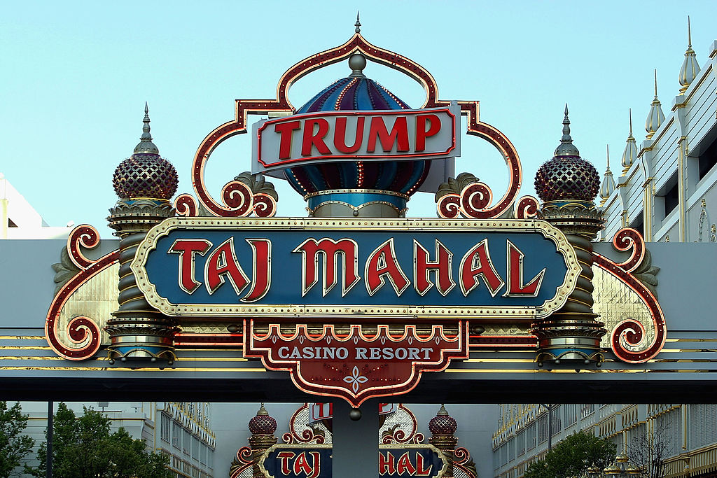 A sign marks the Trump Taj Mahal Hotel and Casino in Atlantic City, New Jersey