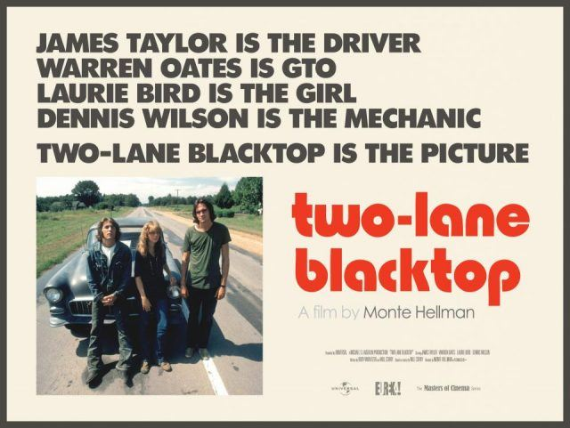 A poster for Two-Lane Blacktop, showing the three main characters posing in front of a car pulled over on a highway