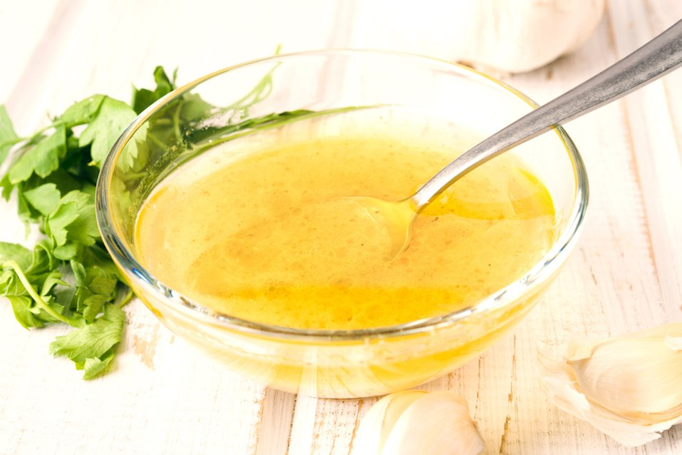 vinaigrette sauce in glass bowl