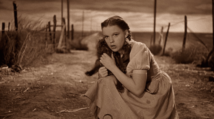 "Dorothy from ""The Wizard of Oz"" surveys her home state of Kansas"