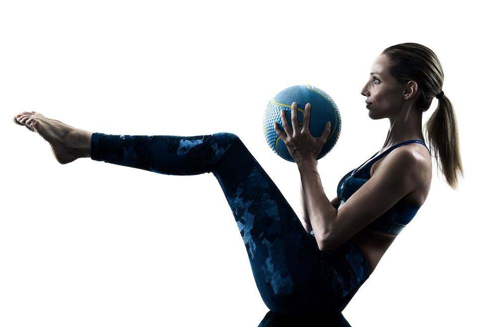 woman fitness Medicine Ball exercise silhouette