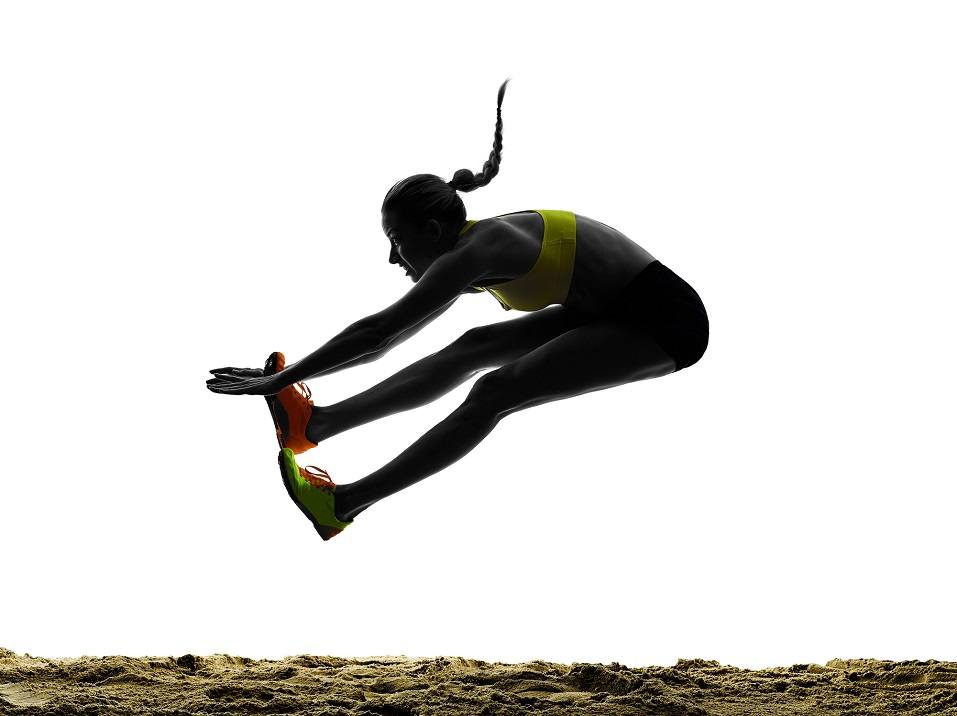 one woman praticing Long Jump