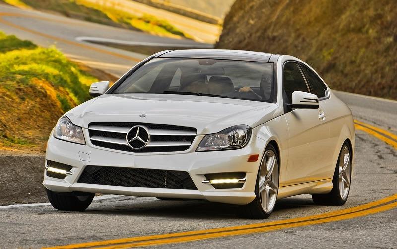 Front three quarter view of white Mercedes C350 sedan