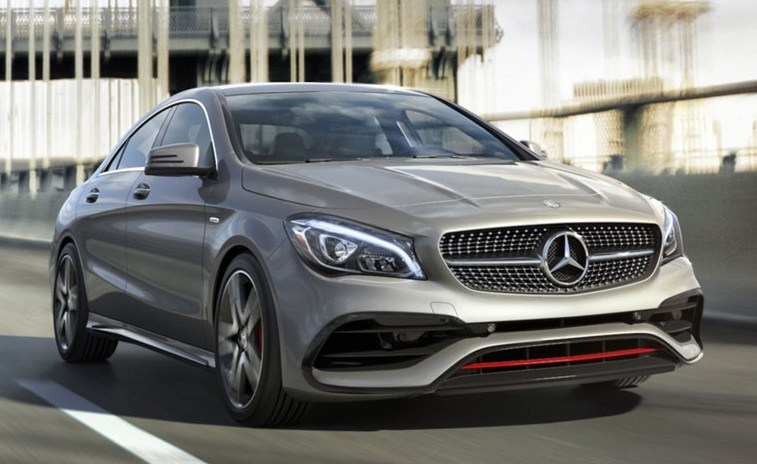 "Road shot of Mercedes CLA ""four-door coupe"""