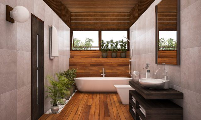 A wooden stylish bathroom with plants and clean windows.