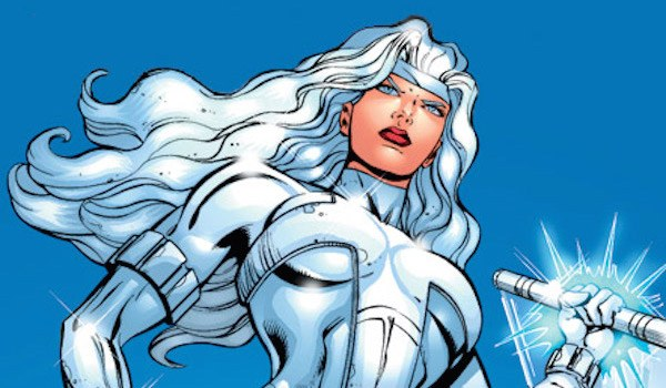 Silver Sable holds up a spear in a Marvel Comics issue