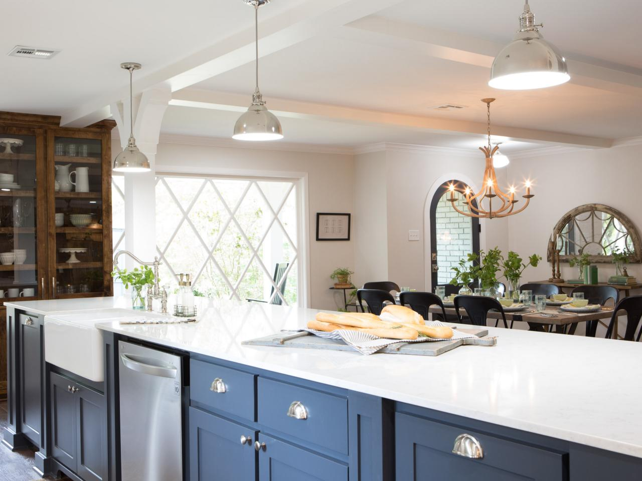 A kitchen island in a home on HGTV's 'Fixer Upper'