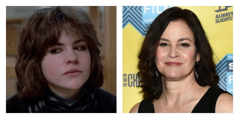 On the left is a picture of Ally Sheedy crying in The Breakfast Club. On the right is Ally Sheedy in a black dress and smiling on the red carpet.