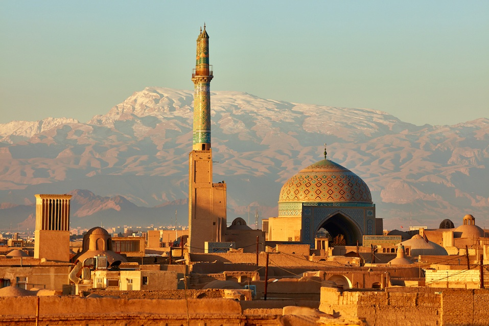 Ancient city of Yazd in sunrise lights. Iran