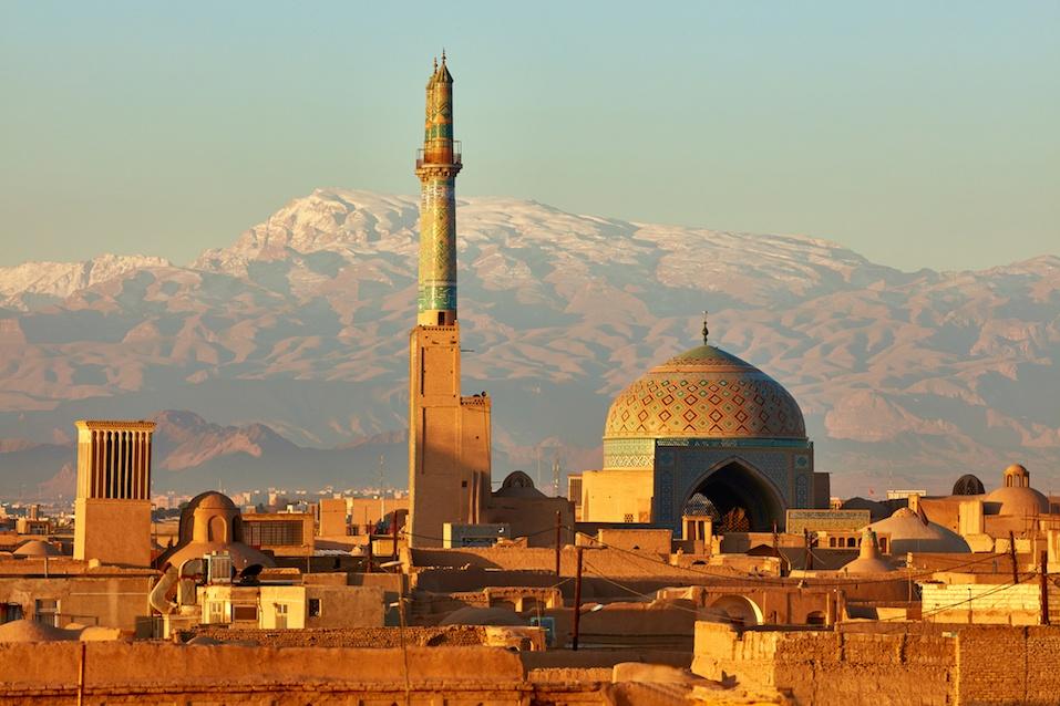 Ancient city of Yazd in sunrise lights. Iran
